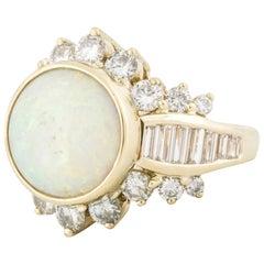 Opal Diamond Ring in Yellow Gold