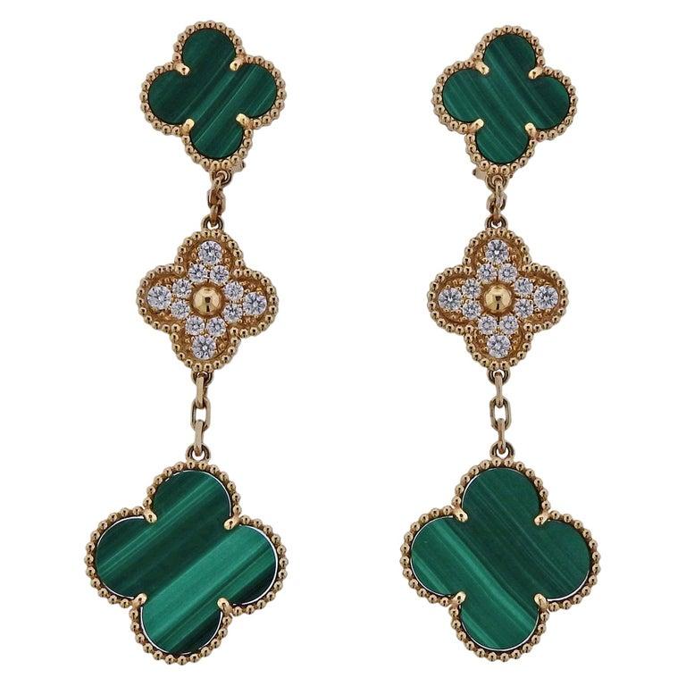 Van Cleef & Arpels Magic Alhambra Diamond Malachite Gold Earrings For Sale