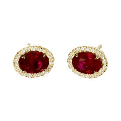 Peter Suchy GIA Certified 2.14 Carat Ruby Diamond Halo Gold Stud Earrings