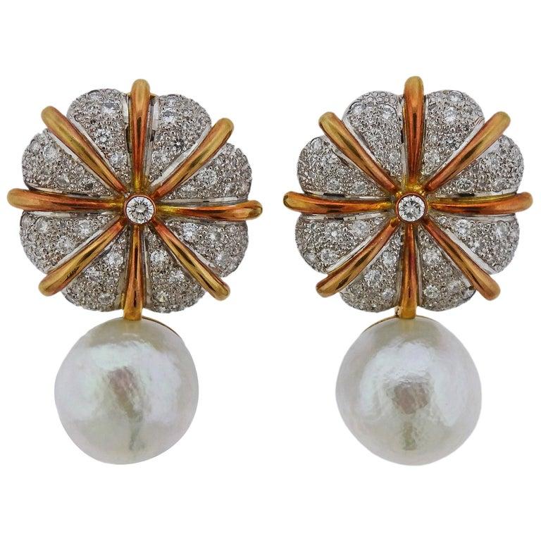 Elizabeth Gage Pearl Diamond Gold Earrings For Sale