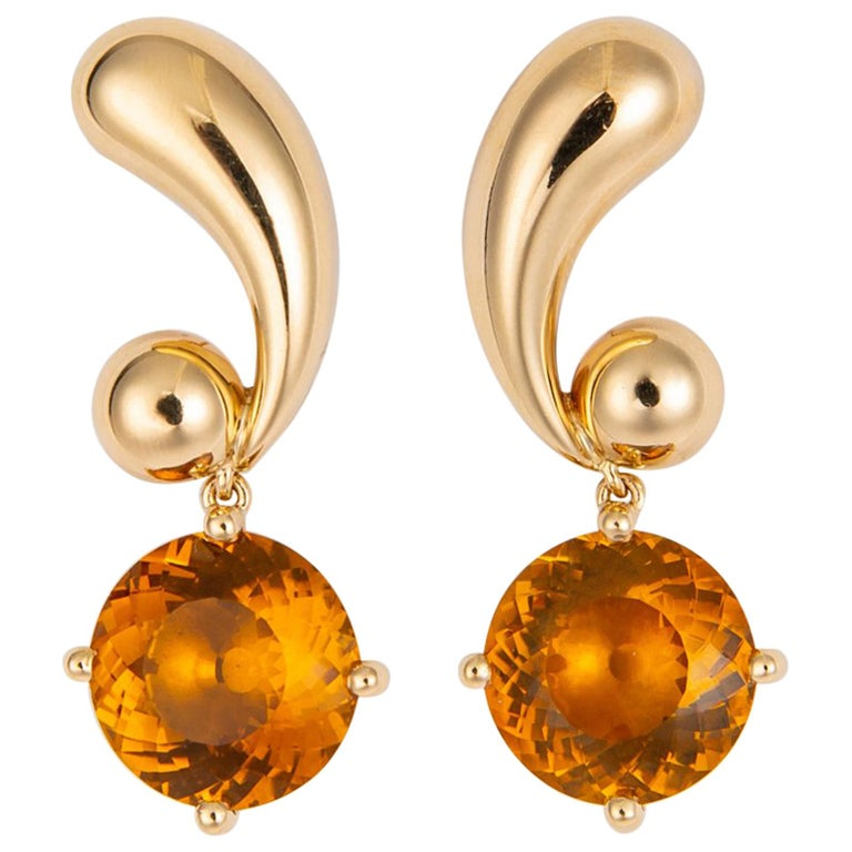 Vintage Cartier Citrine and Gold Drop Earrings For Sale
