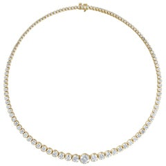 Yellow Gold Tennis Necklace of over 18 Carat of Round Diamonds