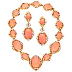 Coral Necklace and Earrings Set