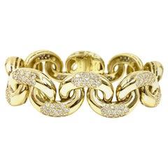 18 Karat Gold and Diamond Large Linked Bracelet 7.29 Carat TW