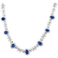 Estate 14 Karat White Gold 36.00 Carat Sapphire and Diamond Necklace 32.6 Grams