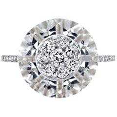 Diamonds Inlaid Into Special Cut White Quartz Ring