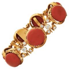 Coral and Diamond Bracelet