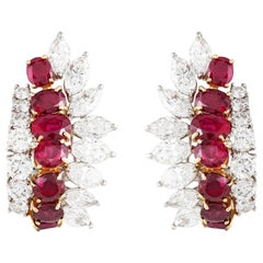 Cartier Diamond and Ruby Cluster Earrings