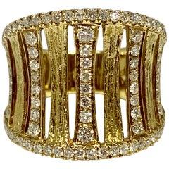 14 Karat Yellow Gold 0.91 Carat Diamond Concave Cocktail Ring