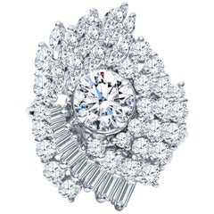 Estate Platinum 5.13 Carat Diamond Cluster Cocktail Engagement Ring 12.5 Grams