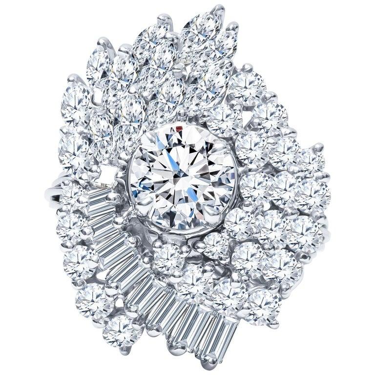 4c3ba681b Estate Platinum 5.13 Carat Diamond Cluster Cocktail Engagement Ring 12.5  Grams For Sale