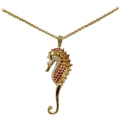 14 Karat Gold 0.84 Carat Multicolored Sapphire and Diamond Seahorse Necklace