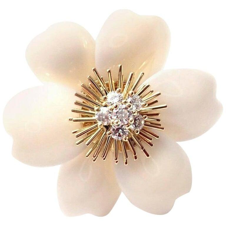 Van Cleef & Arpels Rose de Noel Diamond White Coral Flower Yellow Gold Brooch For Sale