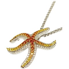 14 Karat Gold 0.90 Carat Multicolored Sapphire and Diamond Starfish Pendant