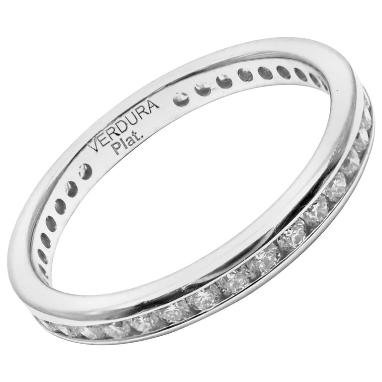 Verdura Diamond Eternity Platinum Band Ring For Sale
