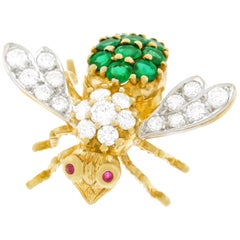 Rosenthal Emerald and Diamond Set Bee Brooch