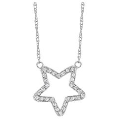 White Gold Star Shape Diamond Pendant Necklace