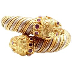 Ilias Lalaounis Yellow White Gold Ruby Chimera Bangle Bracelet
