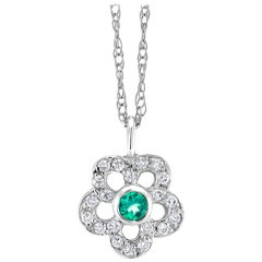 Emerald and Diamond Floral Charm Pendant Necklace