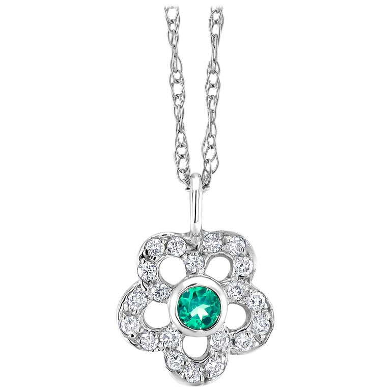 Emerald and Diamond Floral Charm Pendant Necklace For Sale