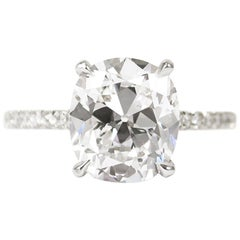 J. Birnbach GIA Certified 3.02 Carat D SI1 Antique Cushion Diamond Ring