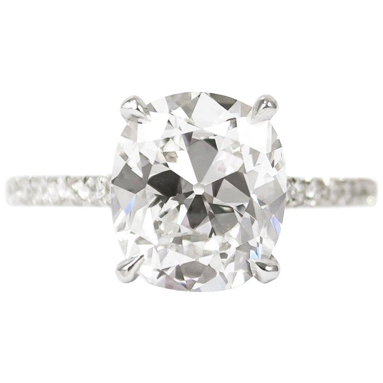 J. Birnbach GIA Certified 3.02 Carat D SI1 Antique Cushion Diamond Ring For Sale