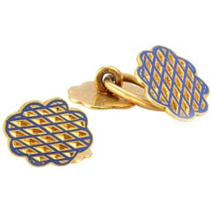 Solid 18 Karat Yellow Gold and Blue Enamel Cufflinks 2.6g