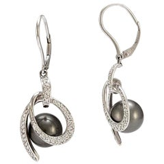 Solid 18 Karat White Gold Tahitian Pearl and Diamond Dangle Earrings 7.3g