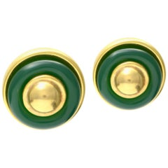 Solid 18 Karat Yellow Gold Chalcedony Earrings 18.2g