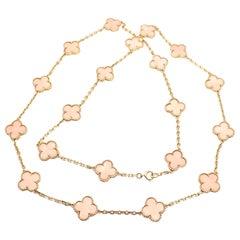 Van Cleef & Arpels 20 Motifs Angel Skin Coral Vintage Alhambra Gold Necklace