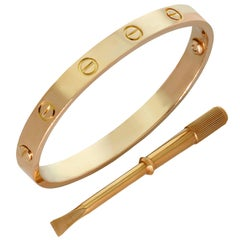 Cartier Love Rose Gold Bangle Bracelet Box Papers