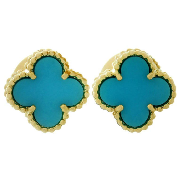 Van Cleef & Arpels Sweet Alhambra Turquoise Yellow Gold Stud Earrings For Sale