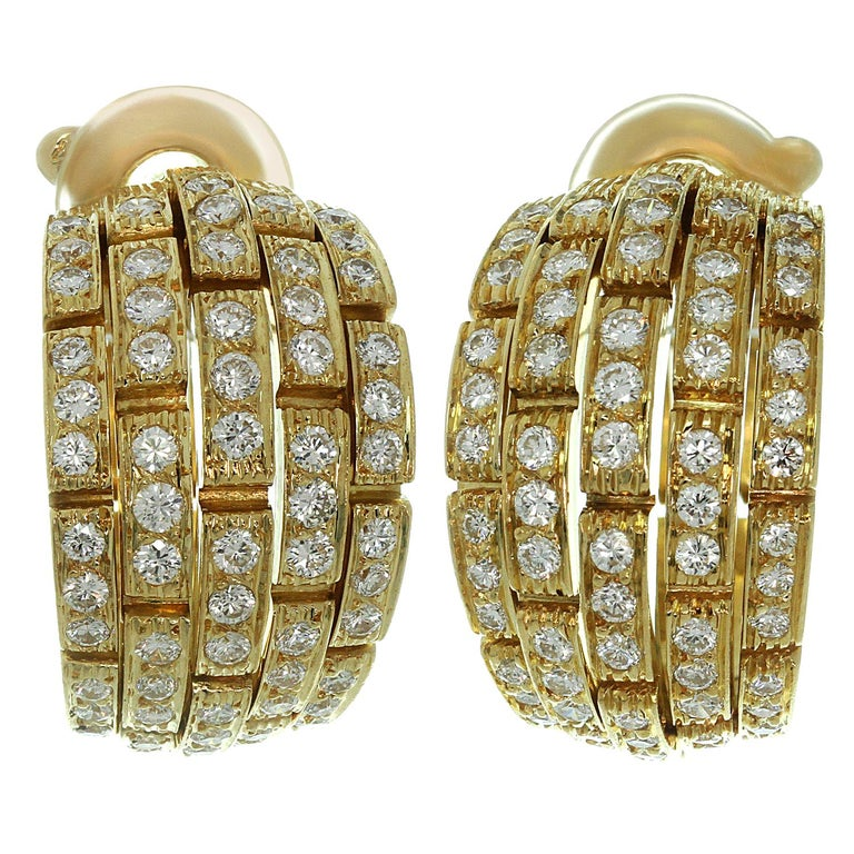 Panthere de Cartier Diamond Yellow Gold Wrap Earrings For Sale
