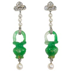 Antique Jade, Natural Pearl, Diamond and Platinum Earrings, circa 1915