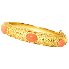 Coral and Gold Bangle Bracelet