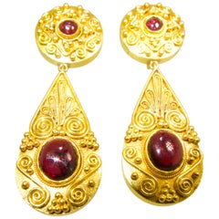 18 Karat Gold and Garnet Pendant Style Earrings