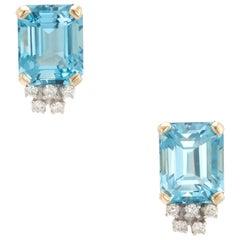 Estate Blue Topaz Diamond Stud Earrings Vintage 14 Karat Yellow Gold Emerald Cut
