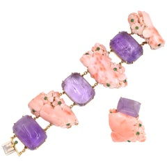 Seaman Schepps Coral, Amethyst and Emerald Bracelet and a Ring