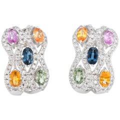 Estate Colored Sapphire Diamond Earrings 18 Karat White Gold Shrimp Jewelry