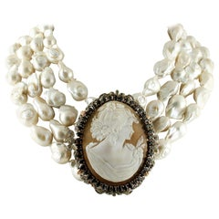 Cameo Diamonds Sapphires Emeralds Pearls Rose Gold and Silver Beaded Necklace