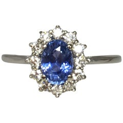 GIA Certified 1.01 Carat Untreated Ceylon Blue Sapphire, Gold and Diamond Ring