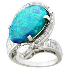 5.08 Carat Opal and 2.49 Carat Diamond, Platinum Dress Ring