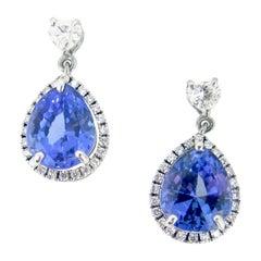 Pear Cut 3.19 Carat Tanzanites Heart Cut Diamonds Gold Drop Dangle Earrings
