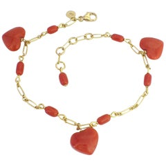 Petronilla Italian Natural Red Coral Heart Bracelet Handmade 18 Karat Gold