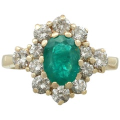 1970s 1.30 Carat Emerald Diamond Yellow Gold Cluster Ring