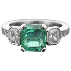 Colombian Emerald Asscher Cut Princess Cut Diamonds Platinum Engagement Ring