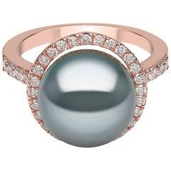 Yoko London Tahitian Pearl and Diamond Ring, in 18 Karat Rose Gold
