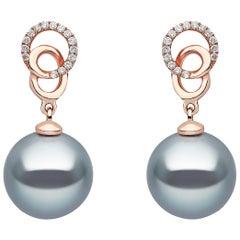 Yoko London Tahitian Pearl and Diamond Earrings, in 18 Karat Rose Gold