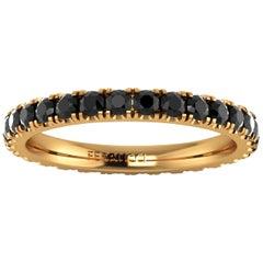 1.00 Carat Black Diamonds Stackable Eternity Band 18 Karat Yellow Gold