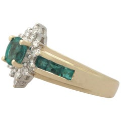 Emerald Diamond Yellow Gold Cocktail Ring